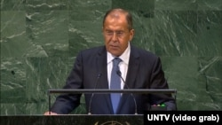 Russian Foreign Minister Sergei Lavrov at the United Nations.