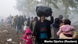 Izbjeglice idu prema hrvatskoj granici. Prizor zabilježen u blizini sela Berkasovo u Srbiji, 23. listopada 2015.
