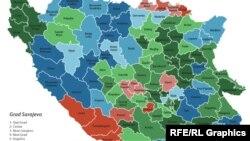 Etnička mapa BiH prema popisu iz 1991.