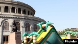 Armenia -- A children's playground in Yerevan's Liberty Square, 14June 2010.