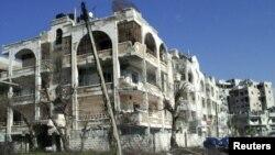 Хомс қаласындағы қирап, бүлінген үйлер. Сирия, 9 наурыз 2012 жыл.