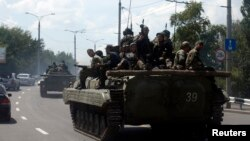 Сепаратисты на улицах Донецка