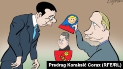 The Serbian cartoonist Corax's vision of Vucic's meeting with Putin in Moscow. The figure emerging from the babushka doll is Socialist leader Ivica Dacic.