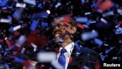Барак Обама в минуты торжества на встрече со своими сторонниками