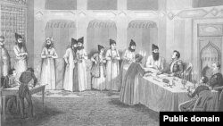 Граф Иван Паскевич и принц Аббас-Мирза на подписании мирного договора в Туркманчае