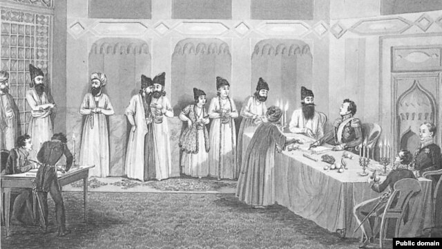 Граф И.Ф. Паскевич и принц Аббас-Мирза на подписании мирного договора в Туркманчае