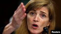 "U.S. Ambassador Samantha Power said the United States hopes Russian President Vladimir Putin takes ""the off-ramp that has been presented to him"" for a peaceful resolution."