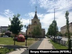 Храм Архангела Михаила, Грозный, вид с проспекта Ахмада Кадырова