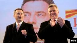 Presidento Gjorgje Ivanov (djathtas) dhe kryeministri Nikolla Gruevski