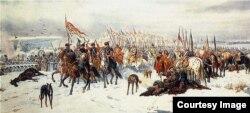 """Юлиуш Коссак. """"Выход польских войск из Смоленска"""". 1860 год"""