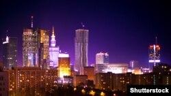 Вид на ночную Варшаву