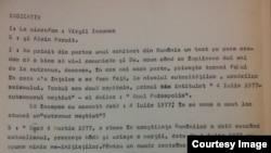 Extras din prima pagină a scriptului emisiunii lui V. Ierunca realizată pe baza unei scrisori primite din România de la inginerul Gheorghe Ursu (Foto: Hoover Archives/Prof. Sergiu Musteață)