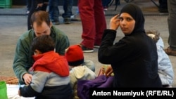 Беженцы на вокзале Келети