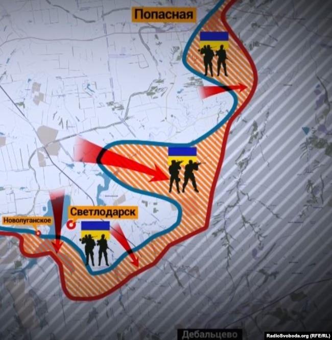 На Світлодарській дузі українські військові повернули Новолуганське, просунулися в напрямі окупованого Дебальцева і зайняли сіру територію в районі Попасної