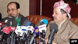 Iraqi Kurdish leader Masud Barzani (right) said many had run out of patience with Iraqi Prime Minister Nuri al-Maliki (left).