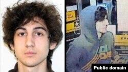 Слева - фото Джохара Царнаева, опубликованное ФБР 19 апреля 2013 года. Справа - снимок, представленный организацией Boston Regional Intelligence Center как изображение подозреваемого в причастности к взрывам в Бостоне.