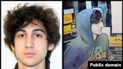 USA--This combination of photos provided on April 19 by the Federal Bureau of Investigation, left, and the Boston Regional Intelligence Center, right, shows a suspect that officials have identified as Dzhokhar Tsarnaev