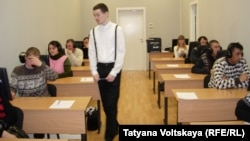 Hopefuls take the Russian-language exam for working migrants in St. Petersburg. But do they know who Ivan VI was?