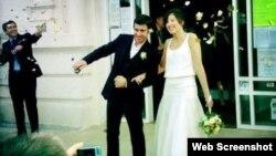 Catherine Ray i Tomas Barros-Tastets na dan vjenčanja 2013. godine