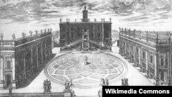 Michaelangelov nacrt Kapitolina u Rimu, gravura Étienne Dupéraca iz 1568. godine
