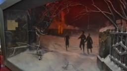 """Картина, нарисованная для экспозиции краснодонского музея """"Молодой гвардии"""". На ней изображен поджог биржи, который якобы устроили молодогвардейцы. Архивные документы не подтверждают, что к пожару имели отношение подпольщики"""