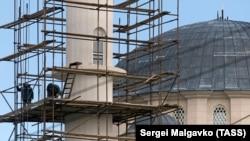 Симферополь, строительство Соборной мечети, архивное фото