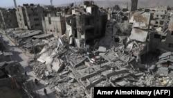 Pamje nga shkatërrimi në qytetin Douma në Gutan Lindore