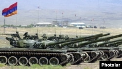 Armenia - Battle tanks lined up for a military exercise, undated