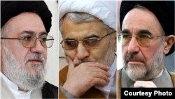 از راست: محمد خاتمی، عبدالله نوری، محمد موسوی خوئینیها