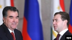 Tajik President Emomali Rakhmon and Russia's Dmitry Medvedev following their talks in Moscow