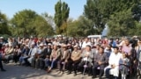 Kazakhstan, Shamalgan. Residents gathered near the Shamalgan Mayor office to discuss the bridge issue. Almaty region. 17Sep2019