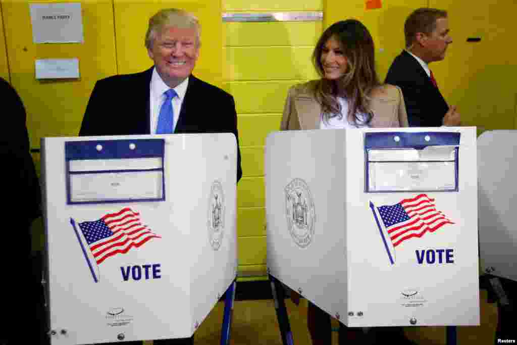 Donald and Melania Trump vote in the presidential election in New York City on November 8, 2016.