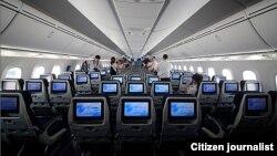 Салон самолета Boeing Dreamliner.