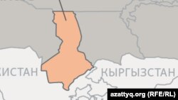 Туркестанская область на карте Казахстана.