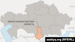 Оңтүстік Қазақстан облысының картасы (Көрнекі сурет).