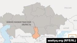 Южно-Казахстанская область (ЮКО) на карте Казахстана.