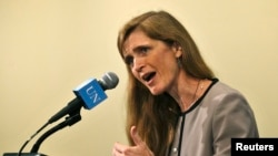 "U.S. Ambassador Samantha Power said a deal was struck with Russia ""legally obligating"" Syria to give up its chemical stockpile."