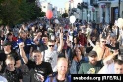 Пяць тысяч пратэстоўцаў ідуць у цэнтры гораду, 13 жніўня