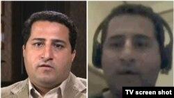 دو فردی که در دو ویدئو خود را شهرام امیری معرفی کردهاند. تصویر سمت راست پخش شده از تلویزیون دولتی ایران است و تصویر سمت چپ برگرفته از ویدئویی است که در یوتیوب منتشر شده است