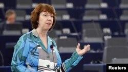 ЕО сыртқы саясат өкілі Кэтрин Эштон Европа парламентінде сөйлеп тұр. Франция, Страсбург, 11 қыркүйек 2012 жыл.