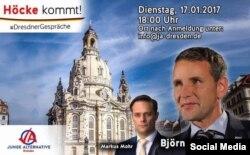 Anunţul conferinţei lui Höcke (afiş postat pe Facebook)