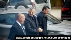 Kryeministri Ramush Haradinaj, Presidenti Hashim Thaçi dhe Kryeparlamentari, Kadri Veseli