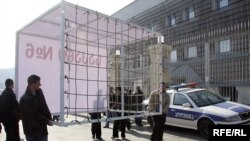 Opposition protesters used cages in their demonstrations
