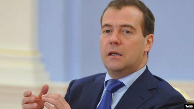 Russian Prime Minister Dmitry Medvedev addresses a meeting at his Gorki residence outside Moscow on November 2.
