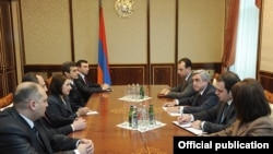 Armenia - President Serzh Sarkisian meets with members of the newly formed Commission on the Ethics of High-Ranking Officials, 10Jan2012.