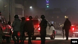 Afghanistan -- Members of the Afghan security services arrives at the scene of an explosion and alleged attack in Kabul, December 11, 2015