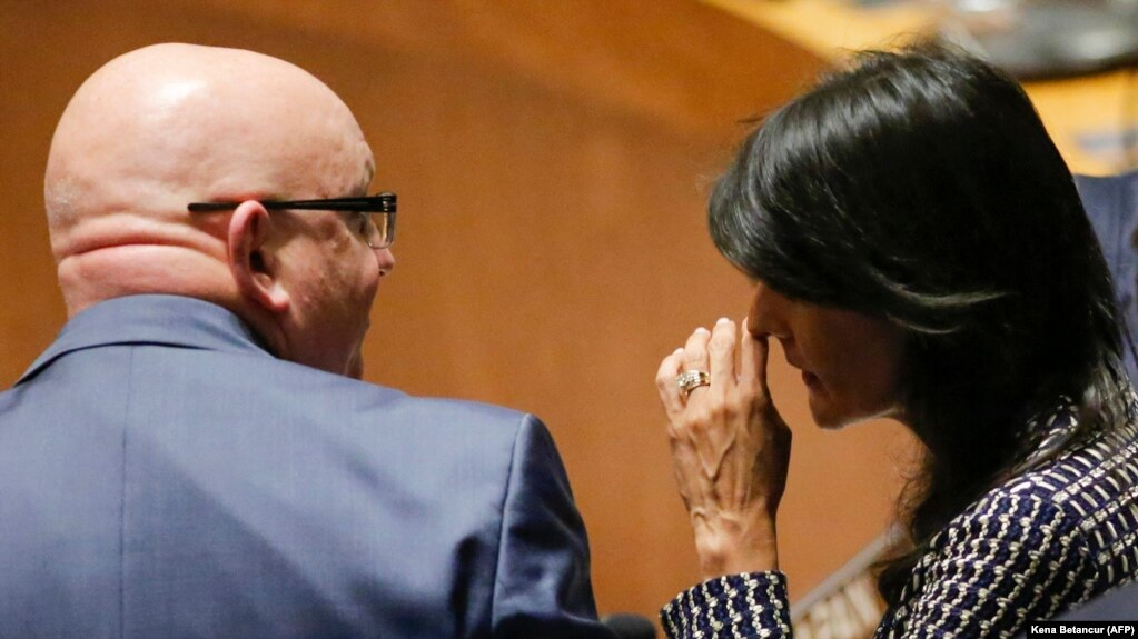 Russian Ambassador to the United Nations Vasily Nebenzya (left) speaks with U.S. Ambassador to the UN Nikki Haley (file photo)