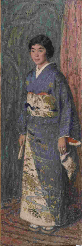 Edmond-François Aman-Jean, Portretul unei japoneze (Dna Kuroki) (1922). Colecția Matsukata. The National Museum of Western Art, Tokyo.