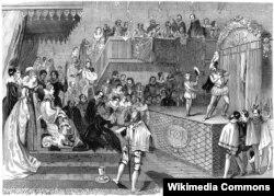 Шекспир дает представление для королевы Елизаветы и ее двора. Гравюра неизвестного художника. 1839
