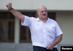 Аляксандар Лукашэнка падчас выступу перад прыхільнікамі, Менск, 16 жніўня 2020
